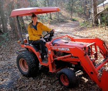 Firth on her tractor (which, unfortunately, is not permitted inside the NSF building).