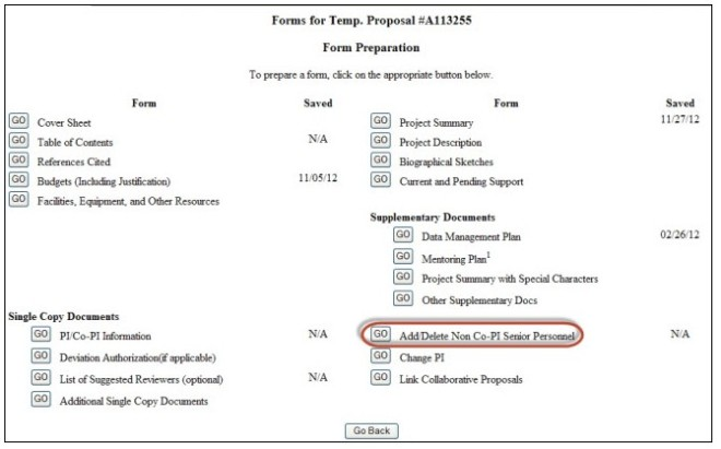 The Add/Delete Non Co-PI Senior Personnel button in FastLane allows a preparer to list additional names for the inclusion of biographical sketches and current and pending support in a proposal.