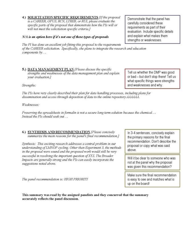 DEB Panel Summary Instructional Handout, Page 1