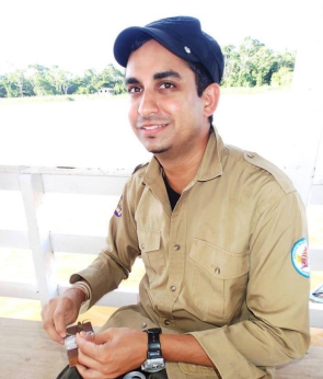 Dr. Chakrabarty on a collecting trip on the Amazon River.