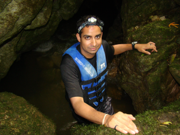 Dr. Chakrabarty searching for cave-dwelling fishes in Honduras.